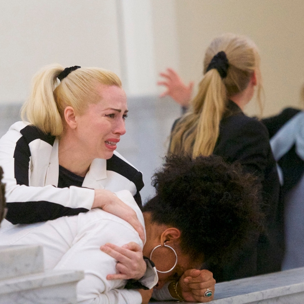 Bill Cosby accusers (L-R) Caroline Heldman, Lili Bernard and Victoria Valentino (far right) react after the guilty on all counts verdict was delivered in the sexual assault retrial at the Montgomery County Courthouse on April 26, 2018 in Norristown, Pennsylvania.. (Credit: Mark Makela/Getty Images)