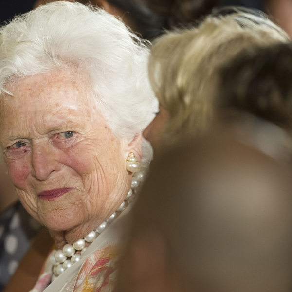 Former first lady Barbara Bush attends a White House ceremony to recognize the Points of Light volunteer program in Washington, D.C., July 15, 2013. (Credit: JIM WATSON/AFP/Getty Images)