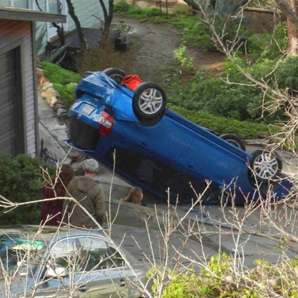Resident Jeff Hartman provided this photo of a car that flipped over on Baxter Street.