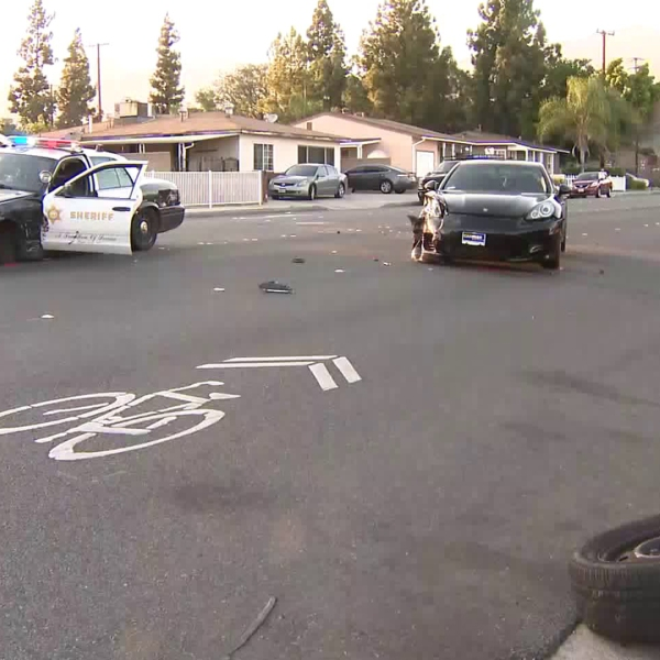 A Los Angeles County sheriff's deputy and civilian were involved in a crash in Duarte on April 20, 2018. (Credit: KTLA)
