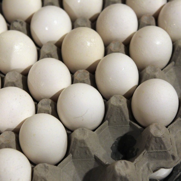 This file photo shows eggs in a crate. (Credit: Justin Sullivan/Getty Images)