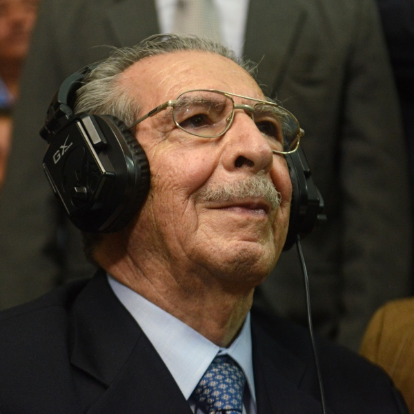 Former Guatemalan President and retired General Jose Efrain Rios Montt listens to his sentence during the trial against him on charges of genocide committed during his regime on May 10, 2013. (Credit: Johan Ordonez/AFP/Getty Images)