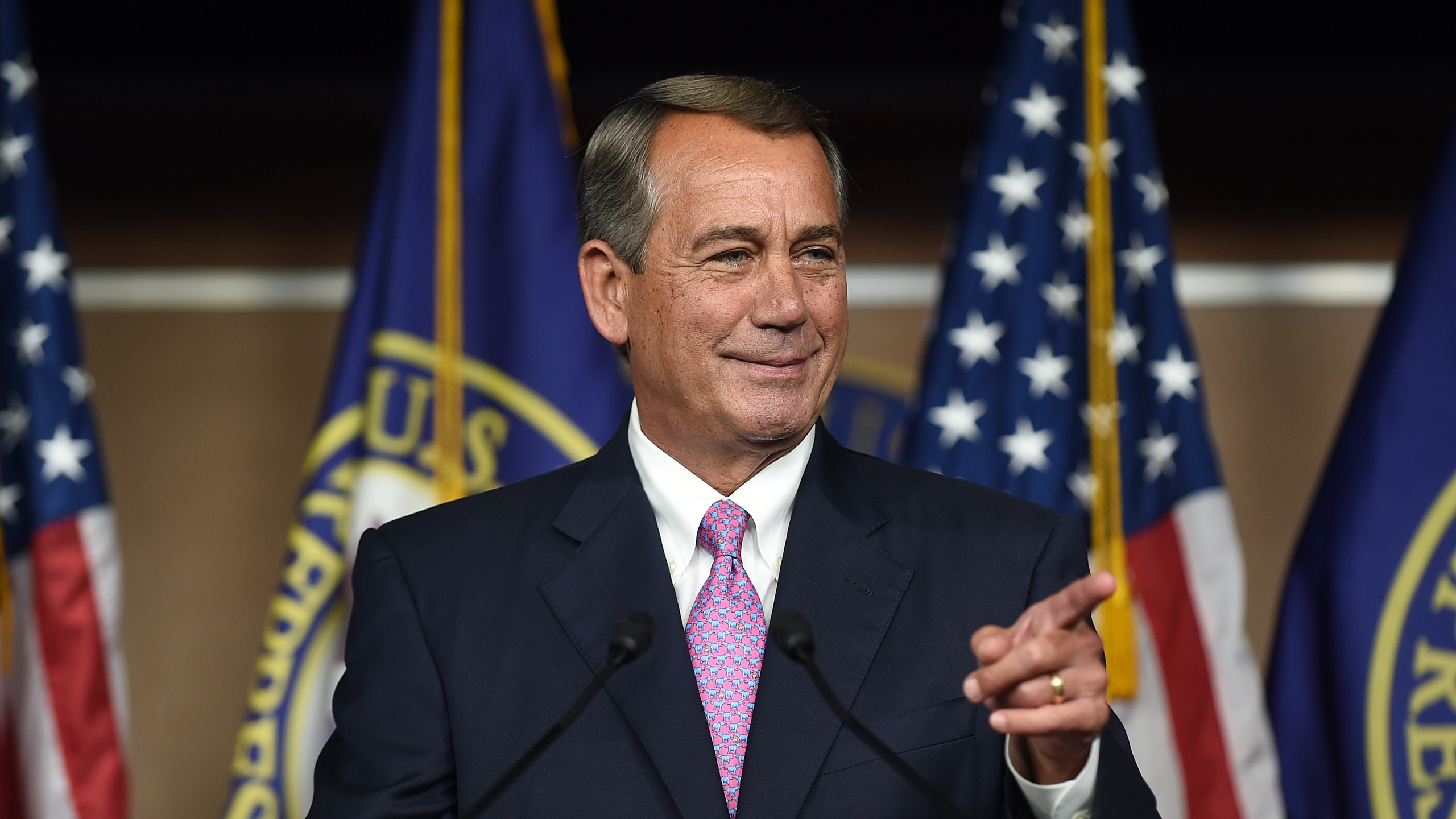 House Speaker John Boehner holds a news conference on Capitol Hill in Washington, DC, July 29, 2015. (Credit: Astrid Riecken / Getty Images)