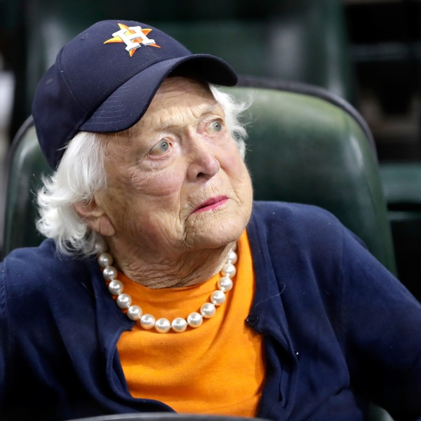 Former first lady Barbara Bush looks on before game five of the 2017 World Series between the Houston Astros and the Los Angeles Dodgers at Minute Maid Park on October 29, 2017 in Houston, Texas. (Credit: David J. Phillip - Pool/Getty Images)