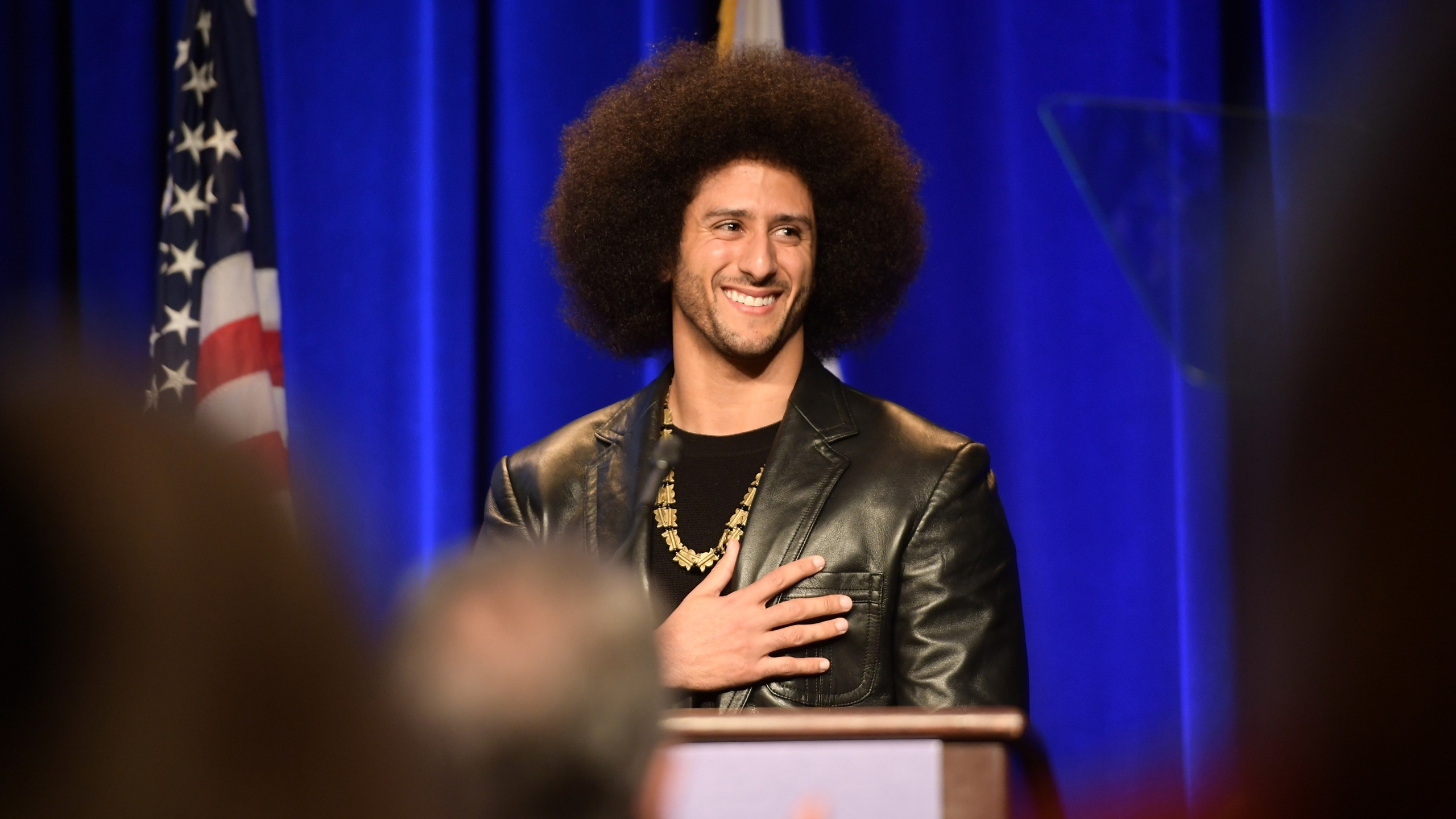 Honoree Colin Kaepernick speaks onstage at ACLU SoCal's annual Bill of Rights dinner at the Beverly Wilshire Four Seasons Hotel on Dec. 3, 2017. (Credit: Matt Winkelmeyer / Getty Images)