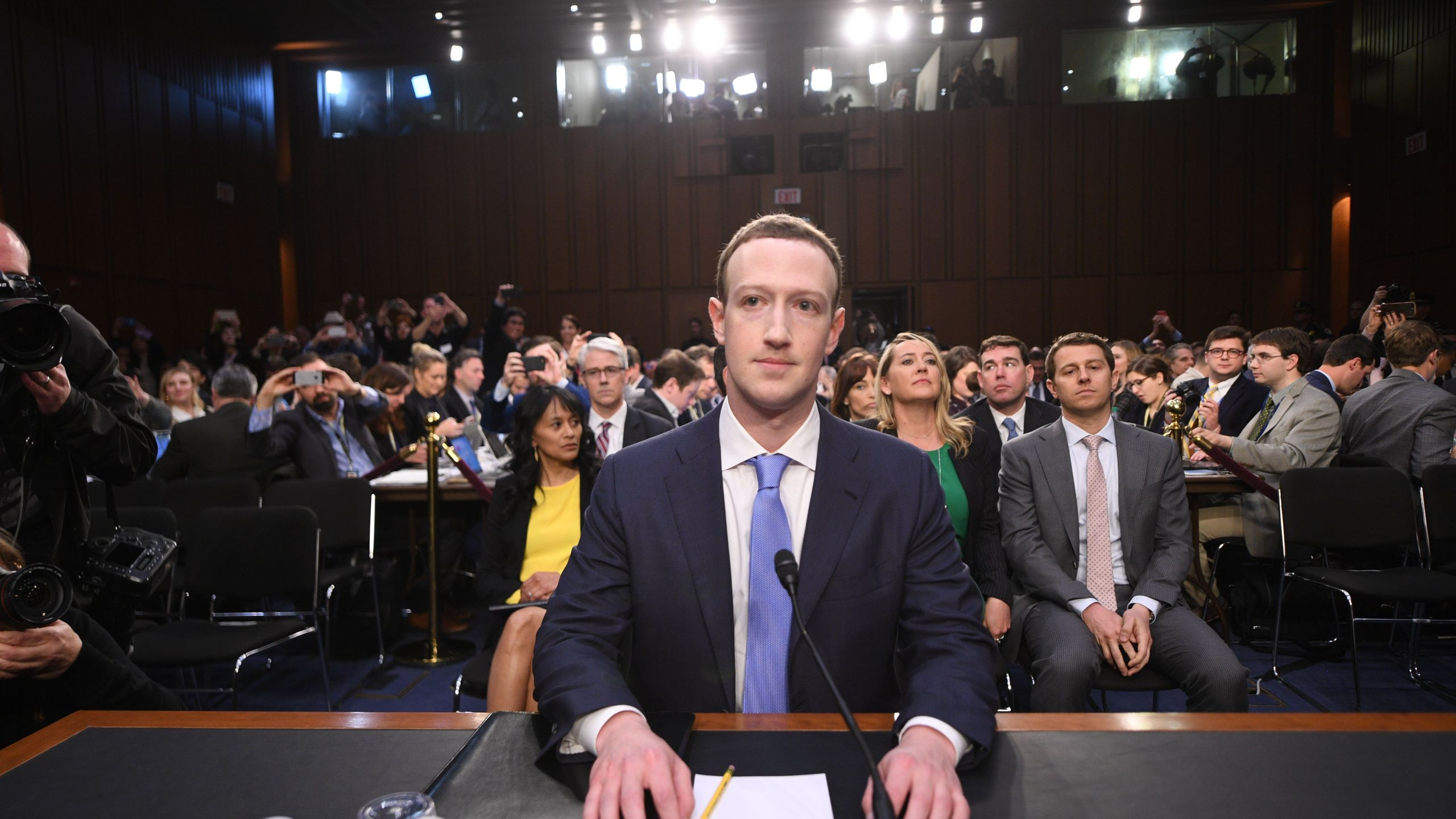 Facebook CEO Mark Zuckerberg arrives to testify before a joint hearing of the US Senate Commerce, Science and Transportation Committee and Senate Judiciary Committee on Capitol Hill, April 10, 2018. (Credit: Jim Watson/AFP/Getty Images)