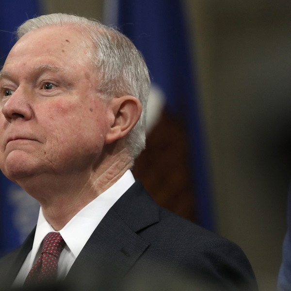 U.S. Attorney General Jeff Sessions speaks at an event at the Justice Department marking the 50th anniversary of the Fair Housing Act April 12, 2018, in Washington, D.C. (Credit: Win McNamee/Getty Images)