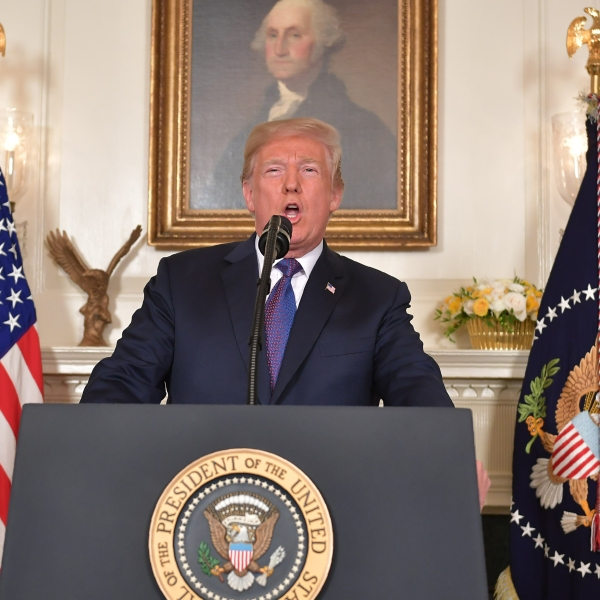 President Donald Trump addresses the nation on the situation in Syria April 13, 2018 at the White House in Washington, D.C. (Credit: MANDEL NGAN/AFP/Getty Images)