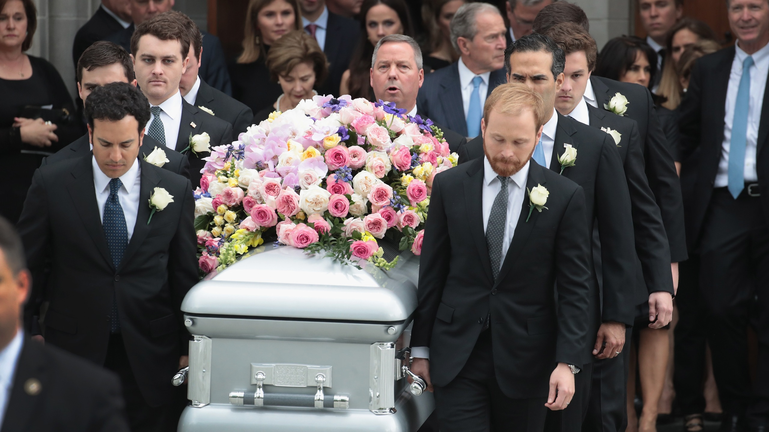 The coffin of former first lady Barbara Bush is carried from St. Martin's Episcopal Church following her funeral service on April 21, 2018 in Houston, Texas. (Credit: Scott Olson/Getty Images)