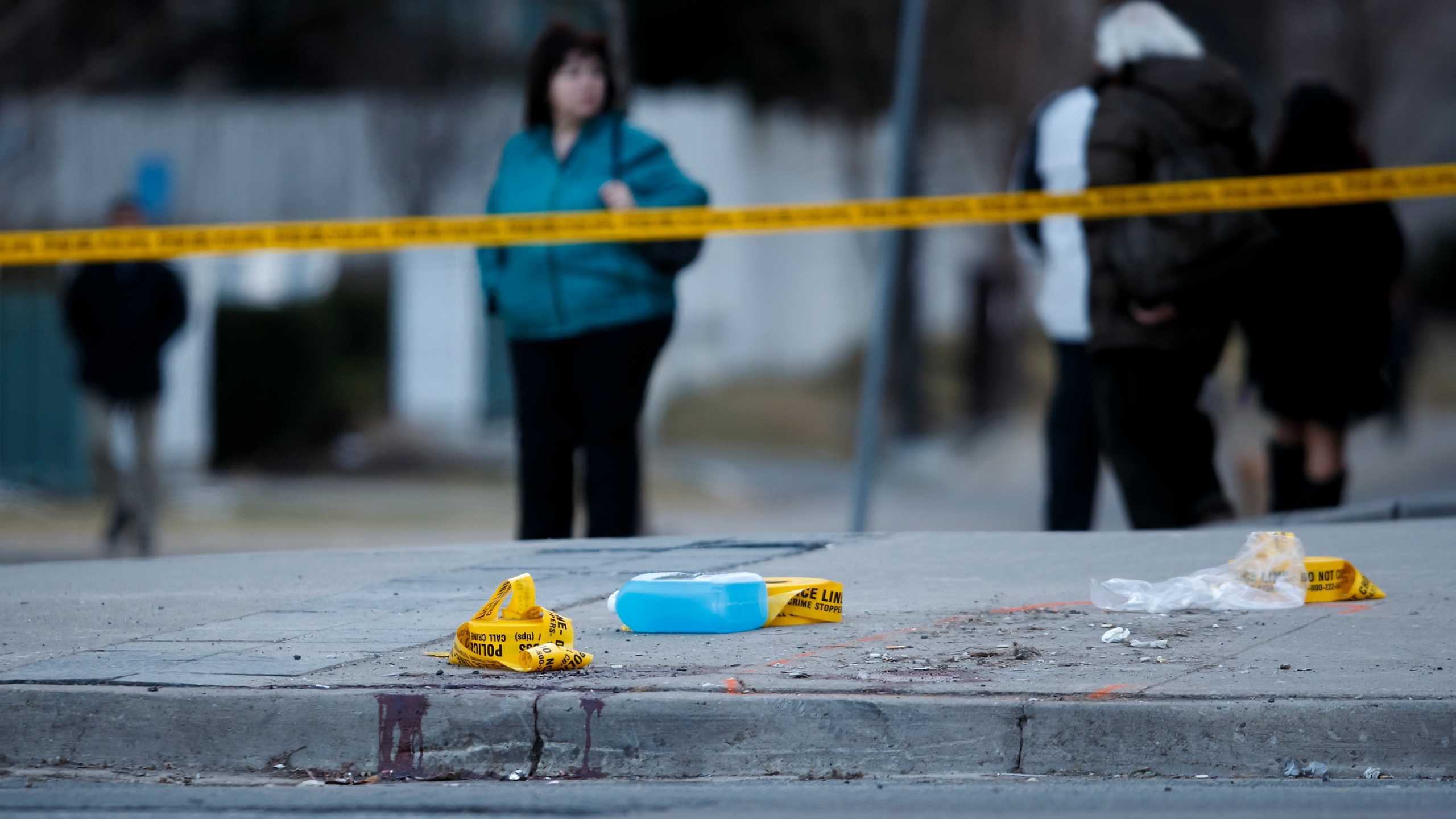 Blood remains at the scene on Yonge St. at Finch Ave., after a van plowed into pedestrians on April 23, 2018 in Toronto, Canada. (Credit: Cole Burston/Getty Images)