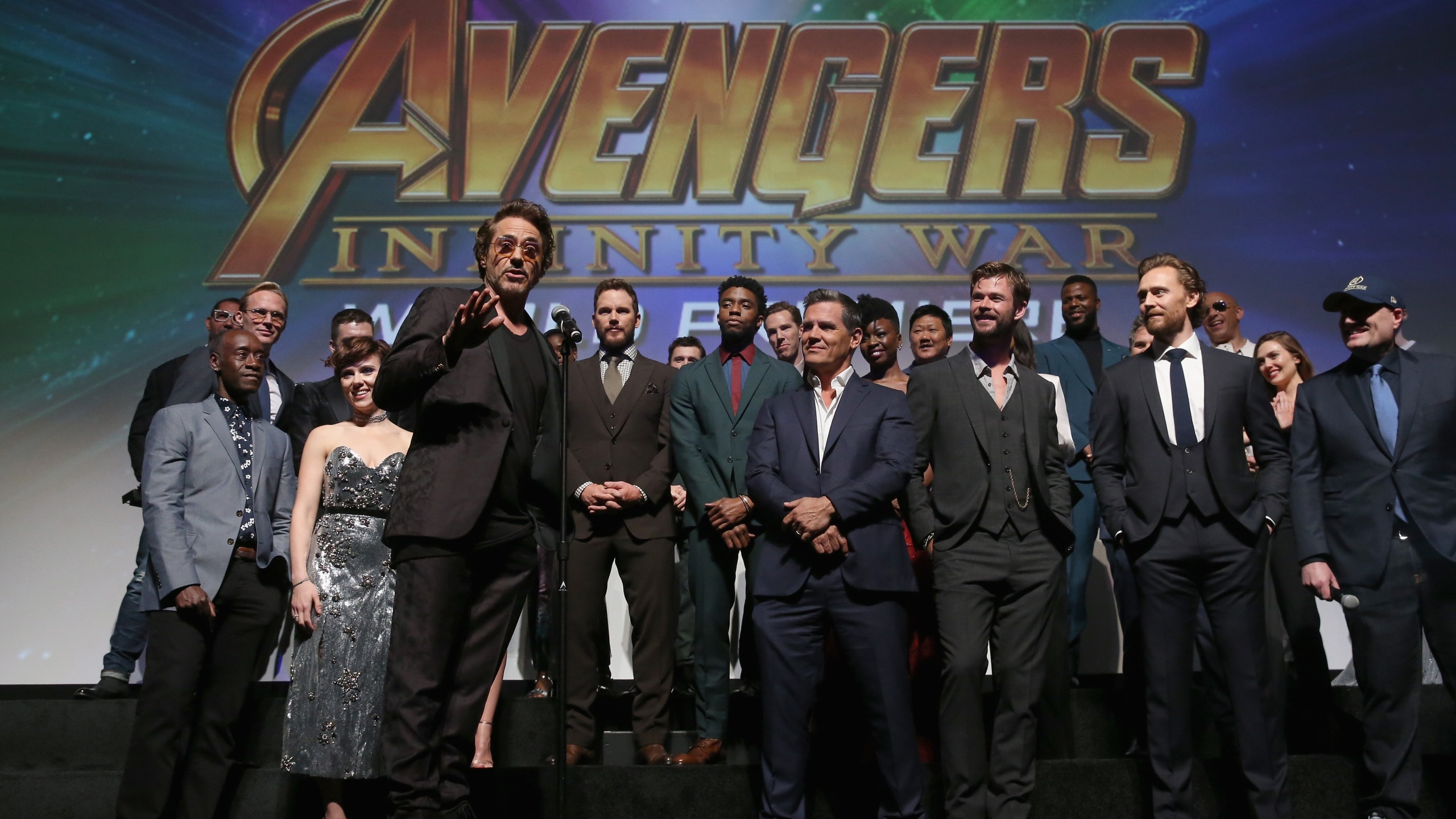 "Actor Robert Downey Jr. and cast and crew of ""Avengers: Infinity War"" attend the Los Angeles premiere for the film on April 23, 2018. (Credit: Jesse Grant/Getty Images for Disney)"