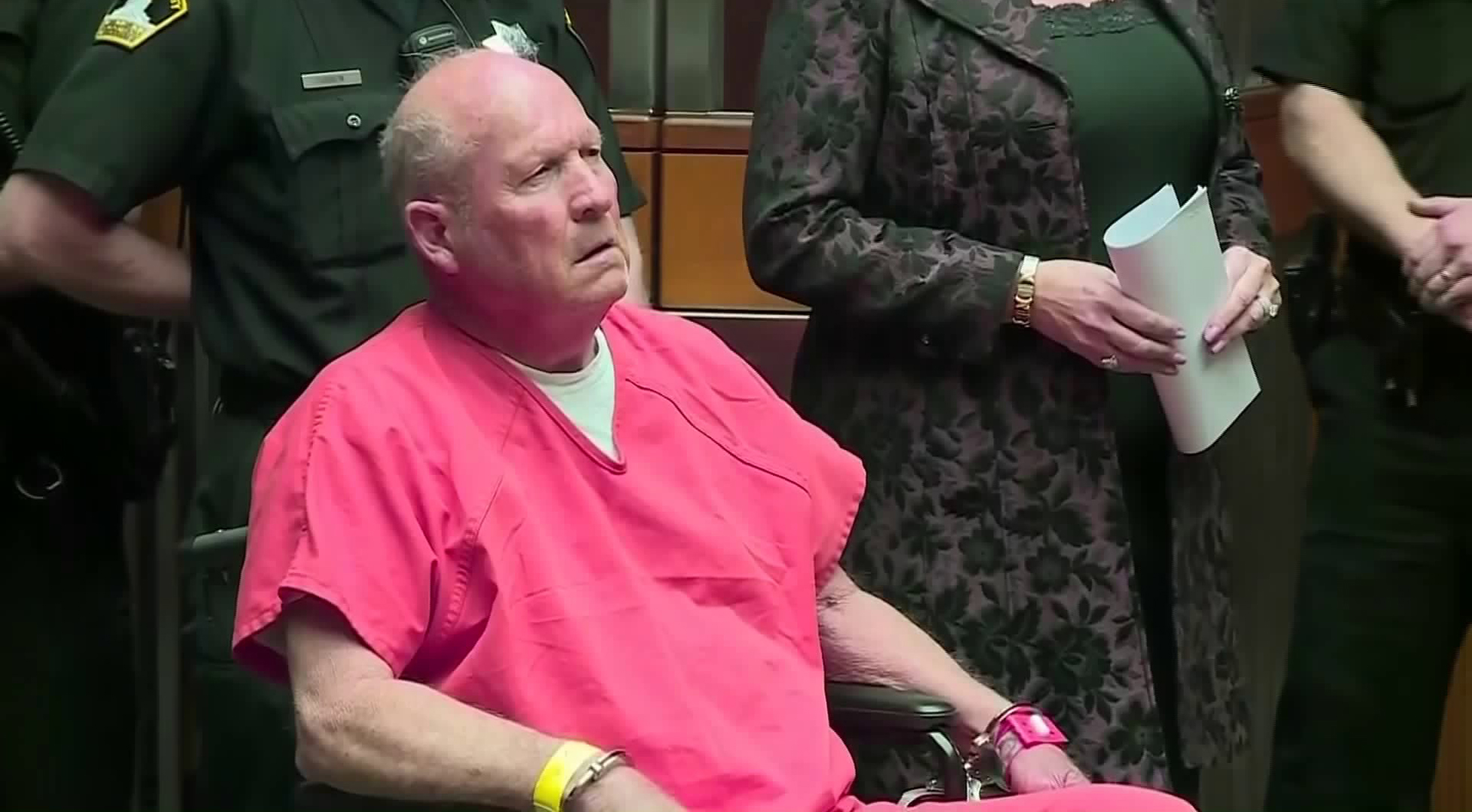 Joseph James DeAngelo, the man suspected of being the Golden State Killer, appears in court for the first time in Sacramento on April 27, 2018. (Credit: CNN)
