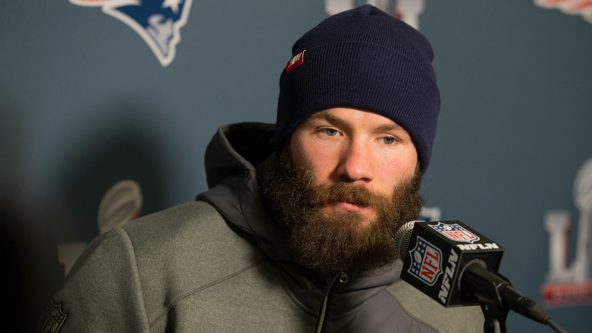 Julian Edelman of the New England Patriots answers questions during Super Bowl LI media availability at the J.W. Marriott on January 31, 2017 in Houston, Texas. (Credit: Bob Levey/Getty Images)