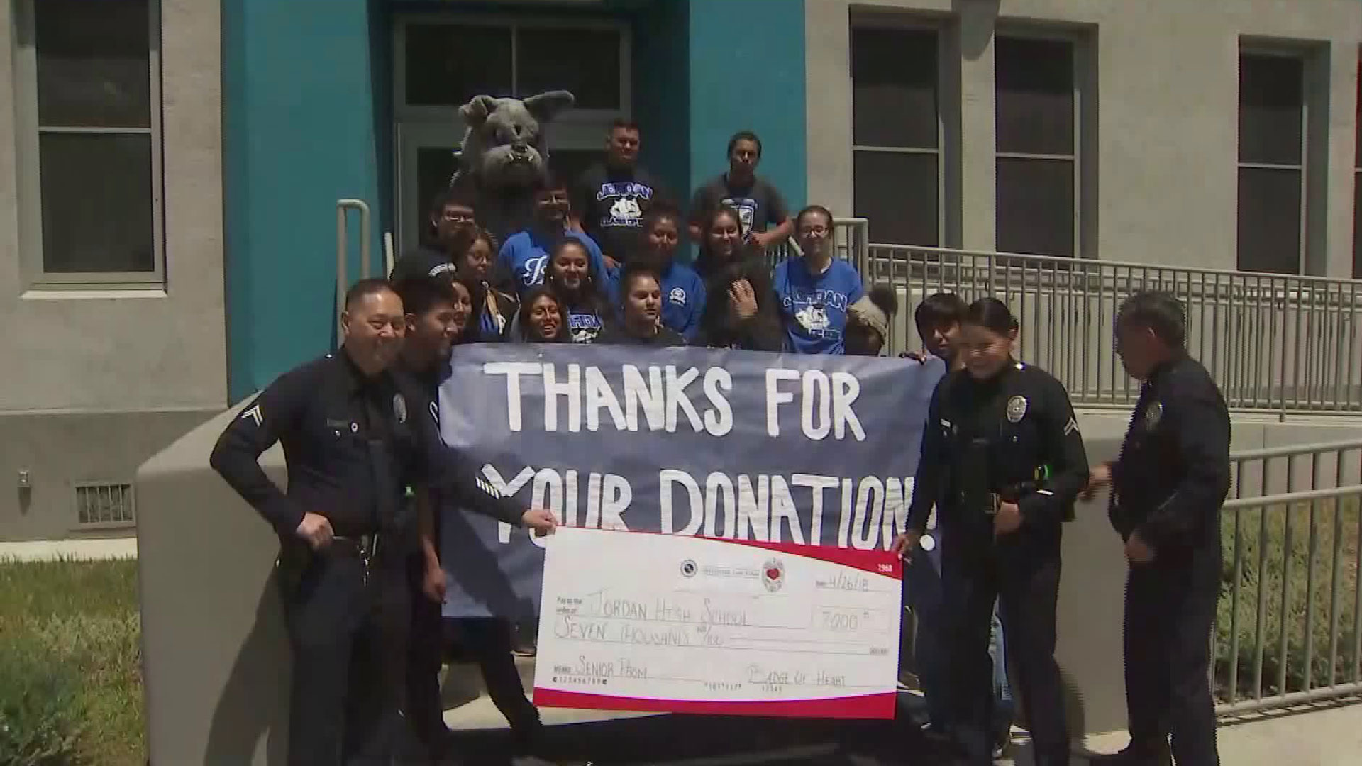 An LAPD event marked a donation from Badge of Heart on April 26, 2018. (Credit: KTLA)
