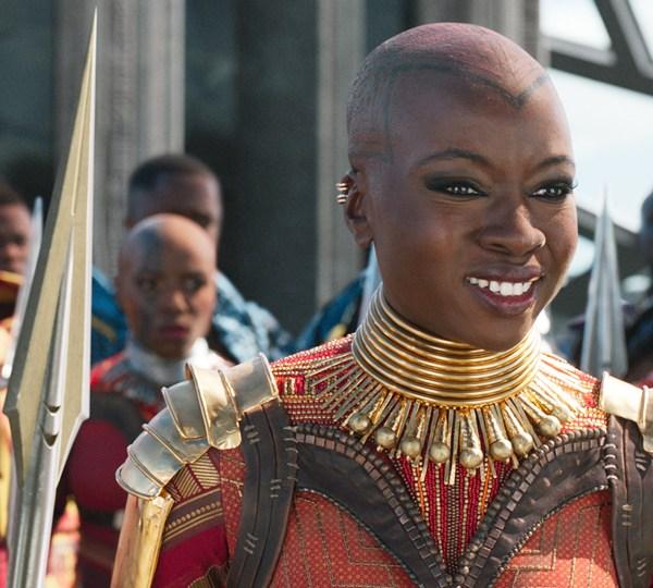 "Danai Gurira plays Okoye in the 2018 film ""Black Panther."" (Credit: Marvel)"