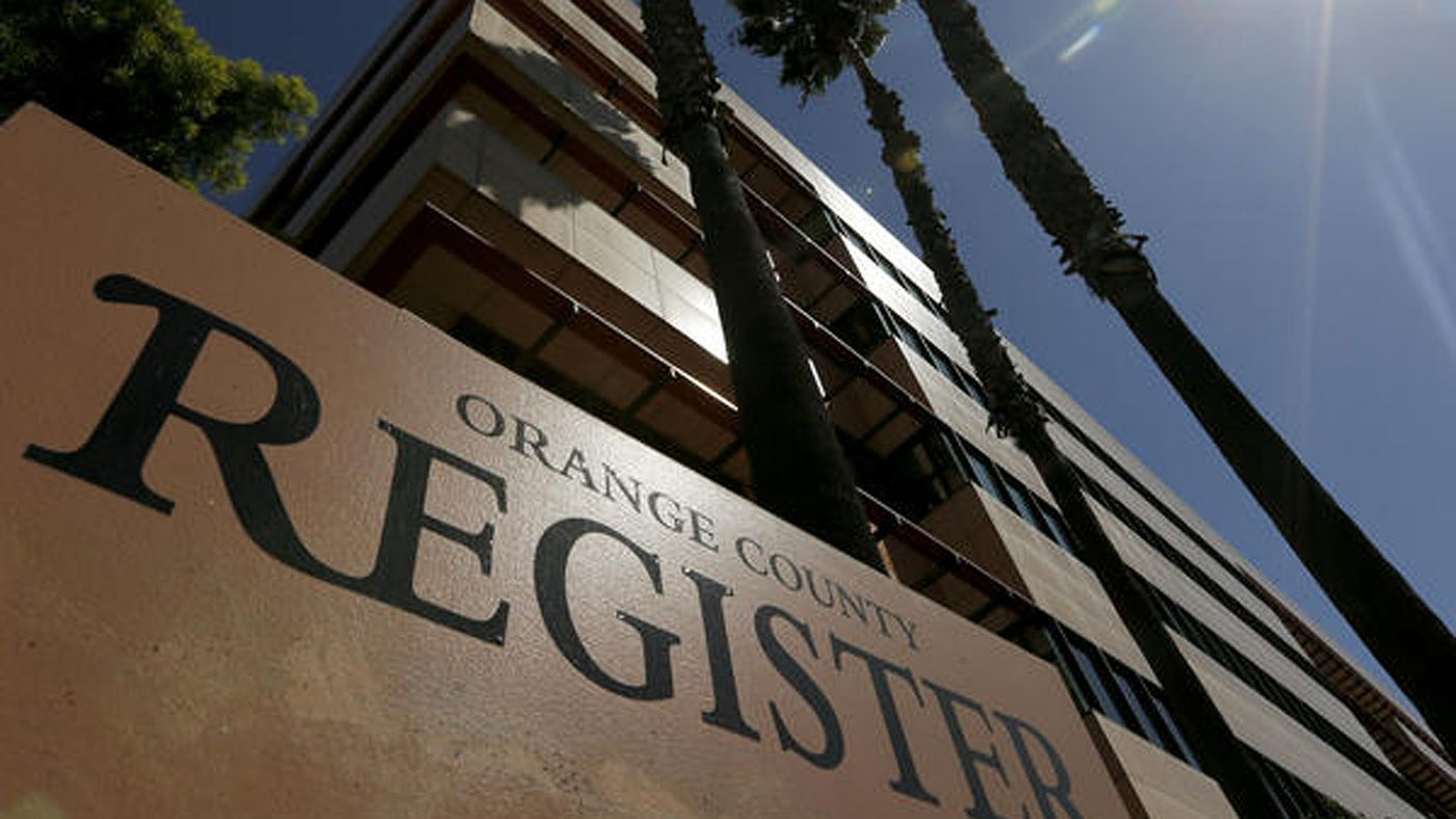 An undated photo shows a sign for the Orange County Register. (Credit: Mark Boster / Los Angeles Times)
