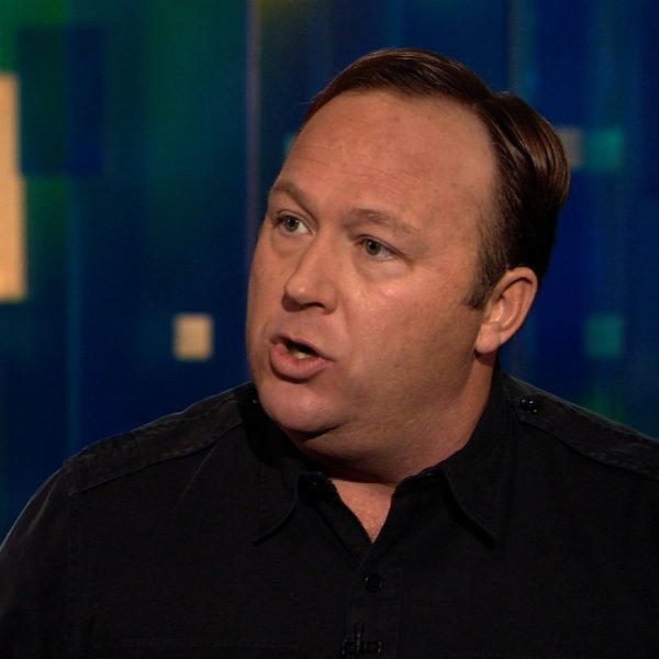 Alex Jones is seen speaking during a televised appearance on Jan. 8, 2013. (Credit: CNN)
