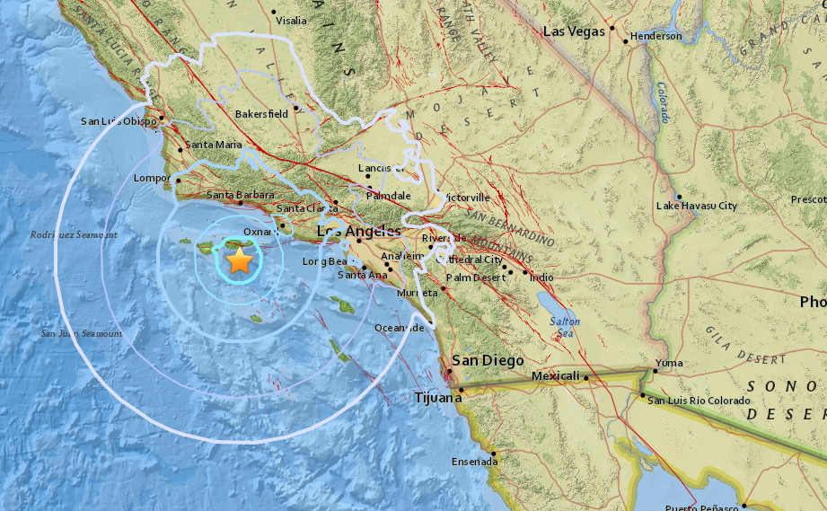 A USGS map shows the location of a magnitude 5.3 earthquake that struck off the Channel Islands around 12:30 p.m. Thursday, April 5, 2018.