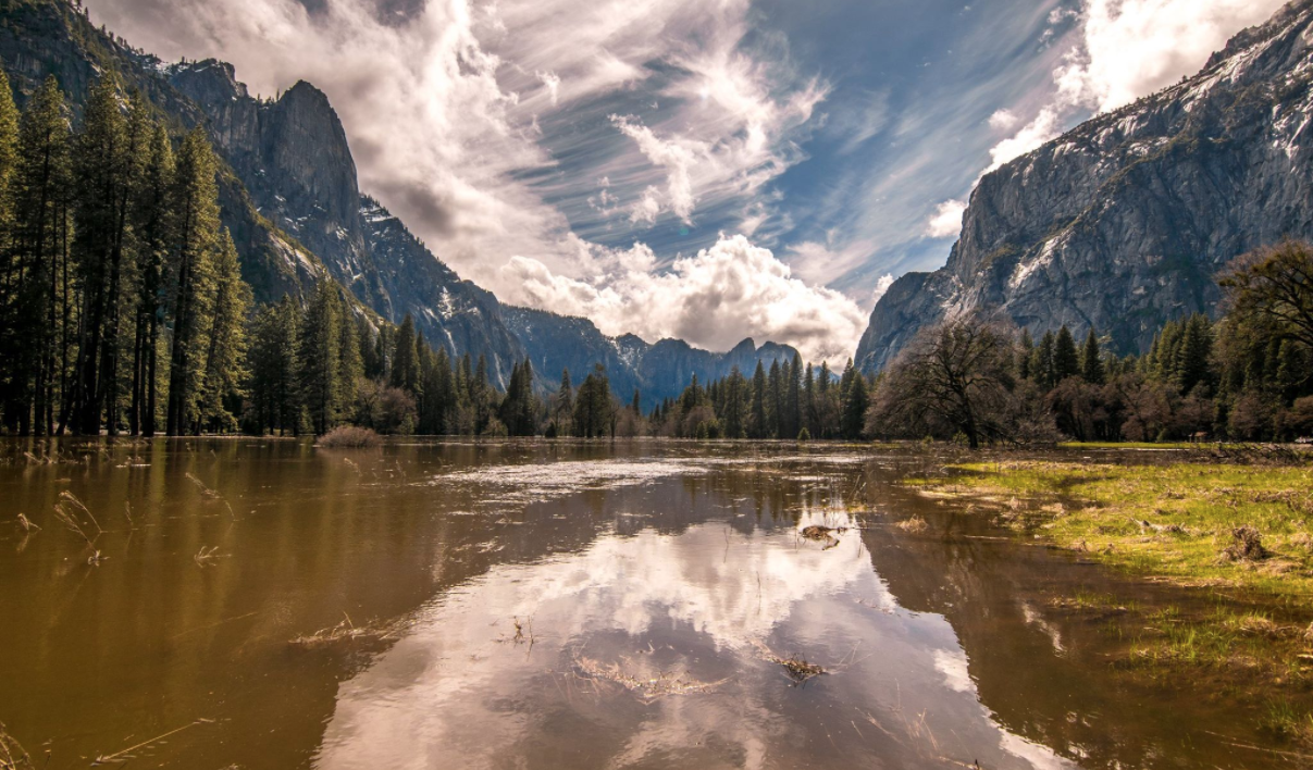 Yosemite National Park shared this image on Twitter on April 8, 2018, showing the valley floor after it was closed during intense rain.