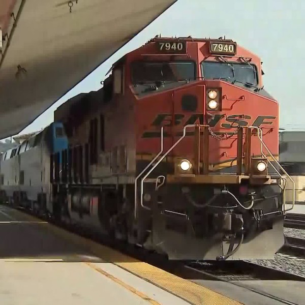 A specialty train is seen at Union Station in downtown Los Angeles on April 8, 2018. (Credit: KTLA)