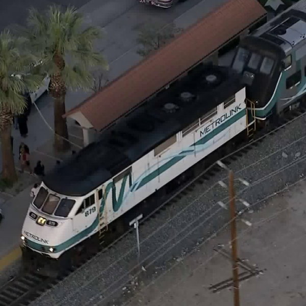 The scene where a person was hit by a Metrolink train in San Fernando on April 16, 2018, is seen here. (Credit: KTLA)