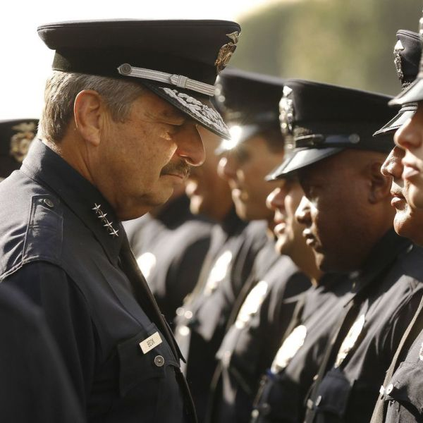 LAPD Chief Charlie Beck conducts his last formal inspection on May 7, 2018. (Credit: Al Seib / Los Angeles Times)