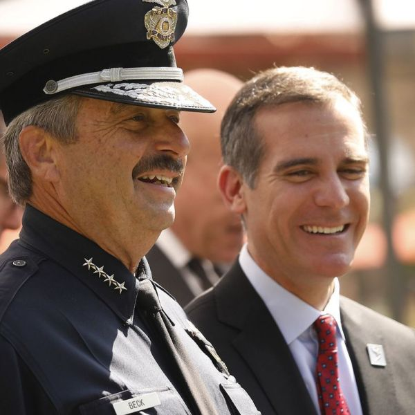 LAPD Chief Charlie Beck, left, and L.A. Mayor Eric Garcetti are shown on May 3, 2018. (Credit: Al Seib / Los Angeles Times)
