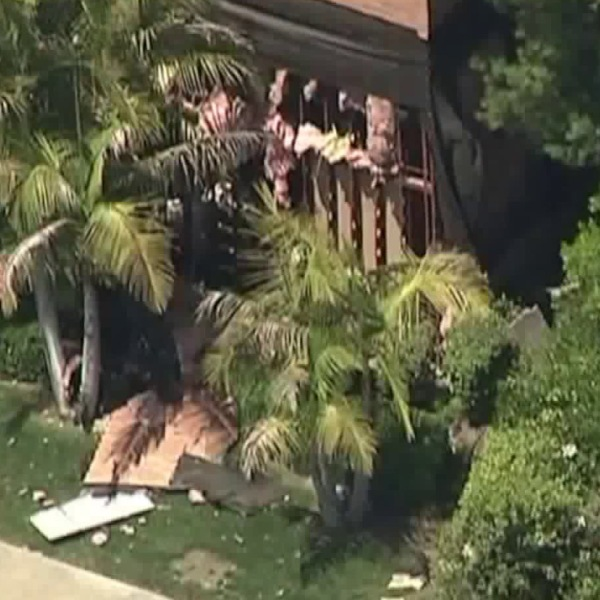 A building in Aliso Viejo is seen after a fatal explosion on May 15, 2018. (Credit: KTLA)