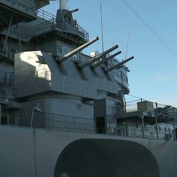 The Battleship Iowa Museum is seen on May 26, 2018. (Credit: KTLA)