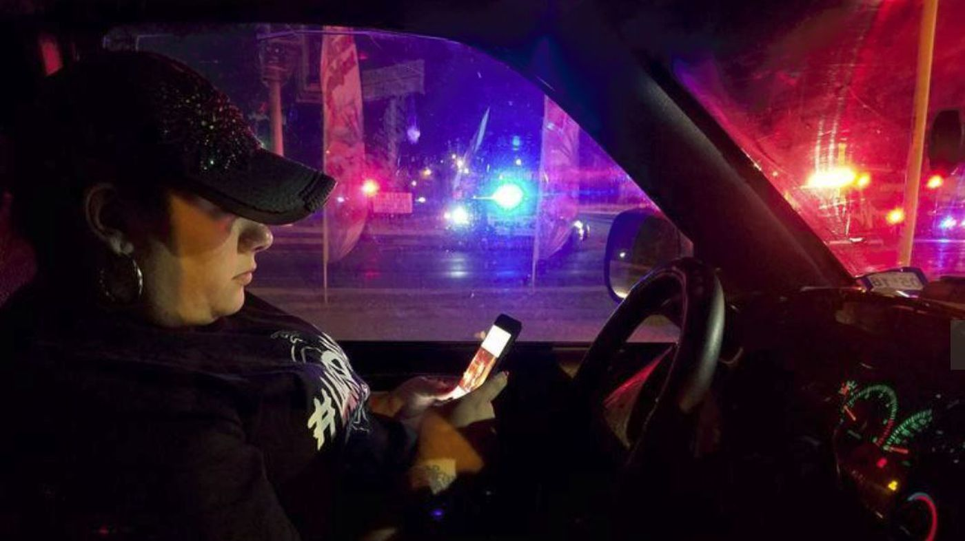 """Video showing the shooting scene was posted by Laredo citizen journalist Priscilla """"Lagordiloca"""" Villarreal, pictured in January 2018. (Credit: Molly Hennessy-Fiske / Los Angeles Times)"""