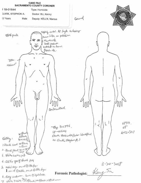 Details on Stephon Clark's appearance and clothes are shown in images from the Sacramento County Coroner's report released May 1, 2018.