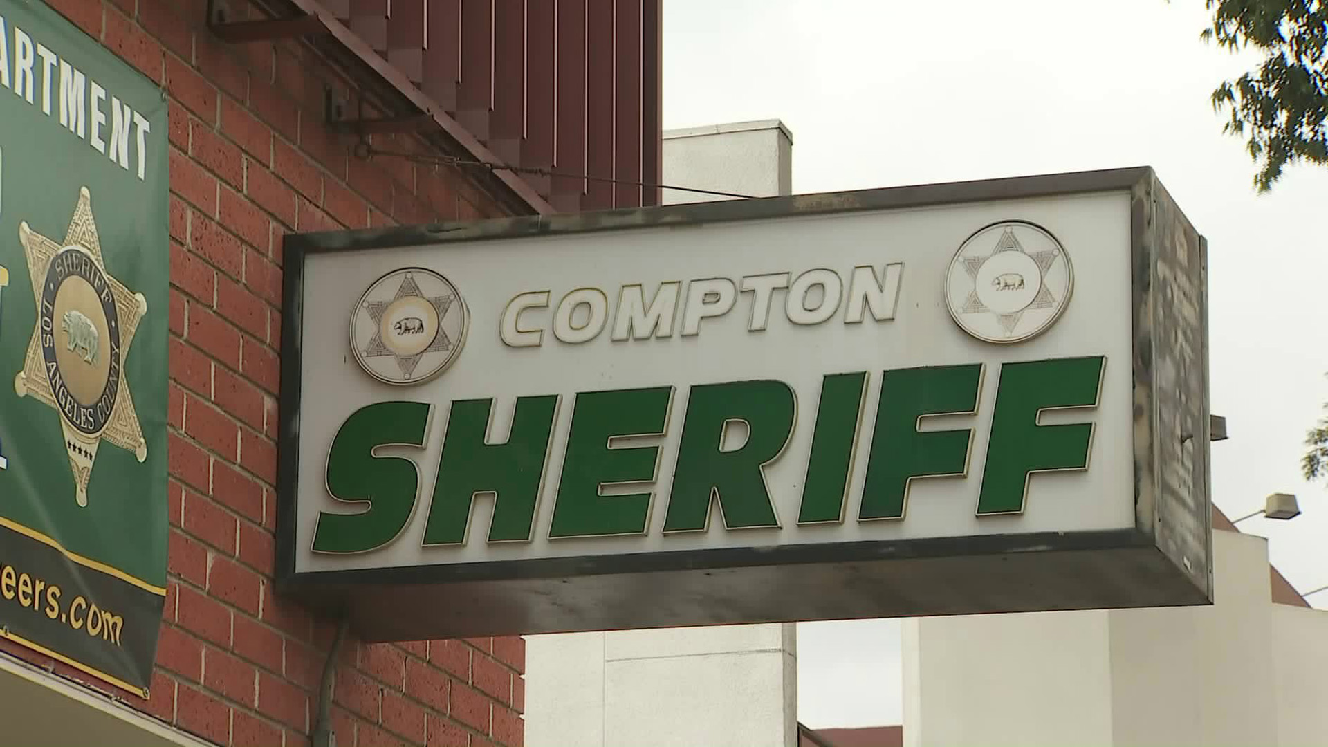 A sign for the Compton station of the Los Angeles County Sheriff's Department is seen on May 1, 2018. (Credit: KTLA)