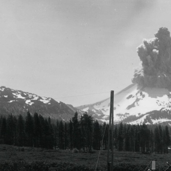 When Lassen Peak exploded on May 22, 1915, it sent a pyroclastic flow flying down the northeast flank of the volcano, creating a zone now known as the Devastated Area. The flow knocked trees down and destroyed everything in its path — 3 square miles of wilderness was obliterated. In this file photo, ash and smoke spew from Mt. Lassen. (Credit: National Park Service)