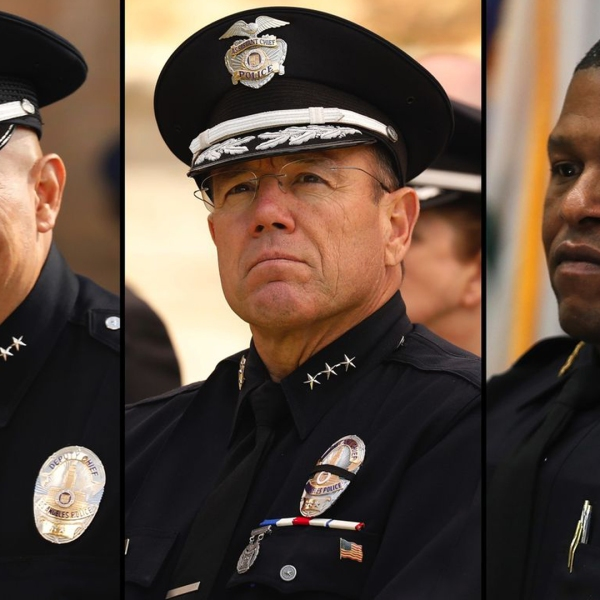 The three finalists for Los Angeles police chief are Robert Arcos, left, Michel Moore and Bill Scott are shown in undated photos. (Credit: Los Angeles Times)