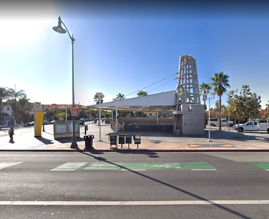 An image of 2230 E. 1st Street in Boyle Heights where a person was struck by Metro Gold Line train. (Credit: Google Maps)