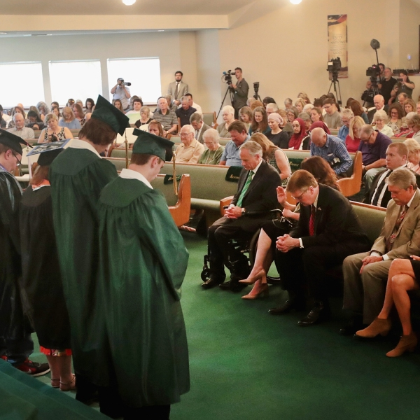 Graduating seniors are recognized during Sunday service at Arcadia First Baptist Church near Santa Fe High School on May 20, 2018 in Santa Fe, Texas. (Credit: Scott Olson/Getty Images)