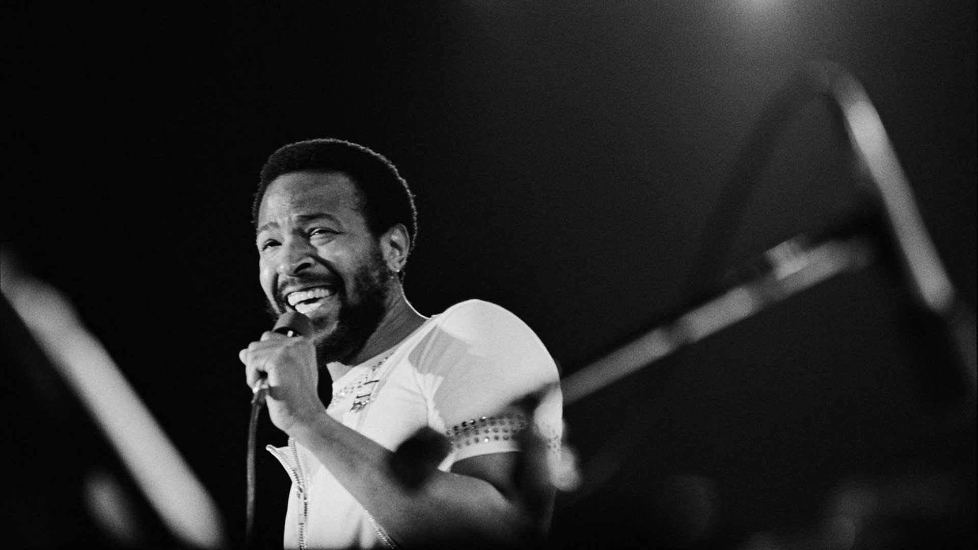 Marvin Gaye is seen performing at the Forum in this undated photo. (Credit: Los Angeles Times)