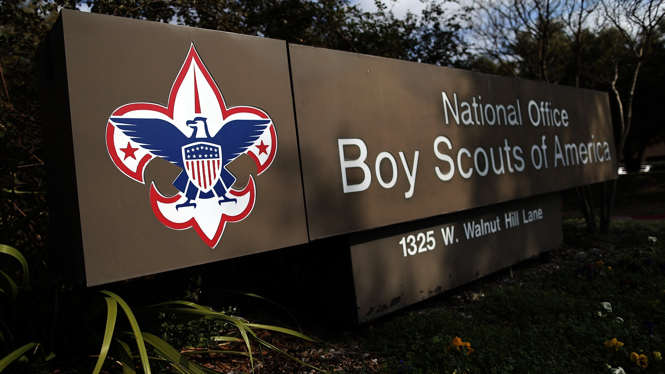 A sign for the National Office outside the Boy Scouts of America Headquarters on February 4, 2013 in Irving, Texas. (Credit: Tom Pennington/Getty Images)