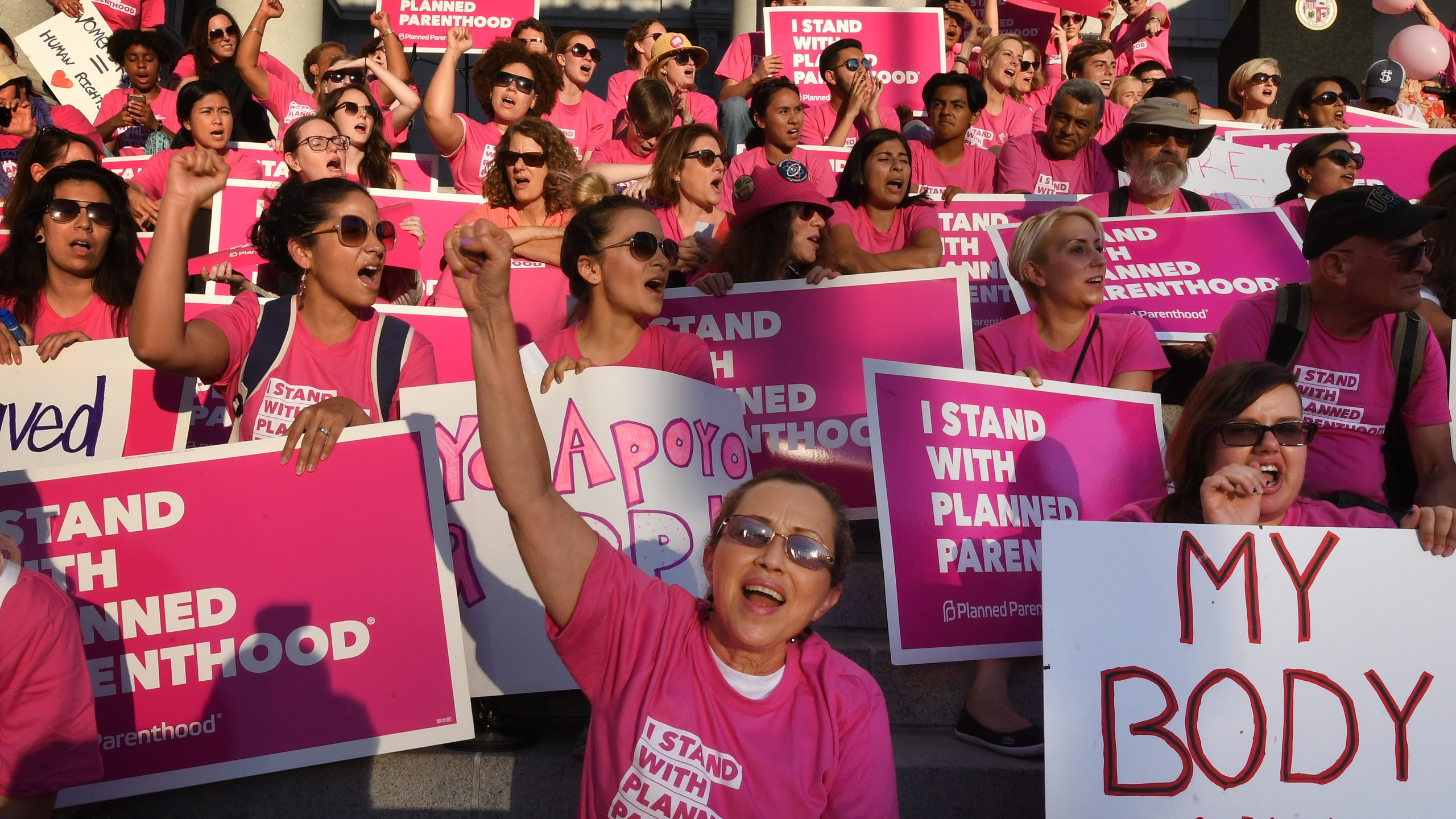Supporters and patients of Planned Parenthood take part in a rally at Los Angeles City Hall on June 21, 2017. (Credit: Mark Ralston / AFP / Getty Images)