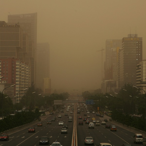 Beijing is shrouded with smog on May 20, 2008 in Beijing, China. (Credit: Guang Niu/Getty Images)