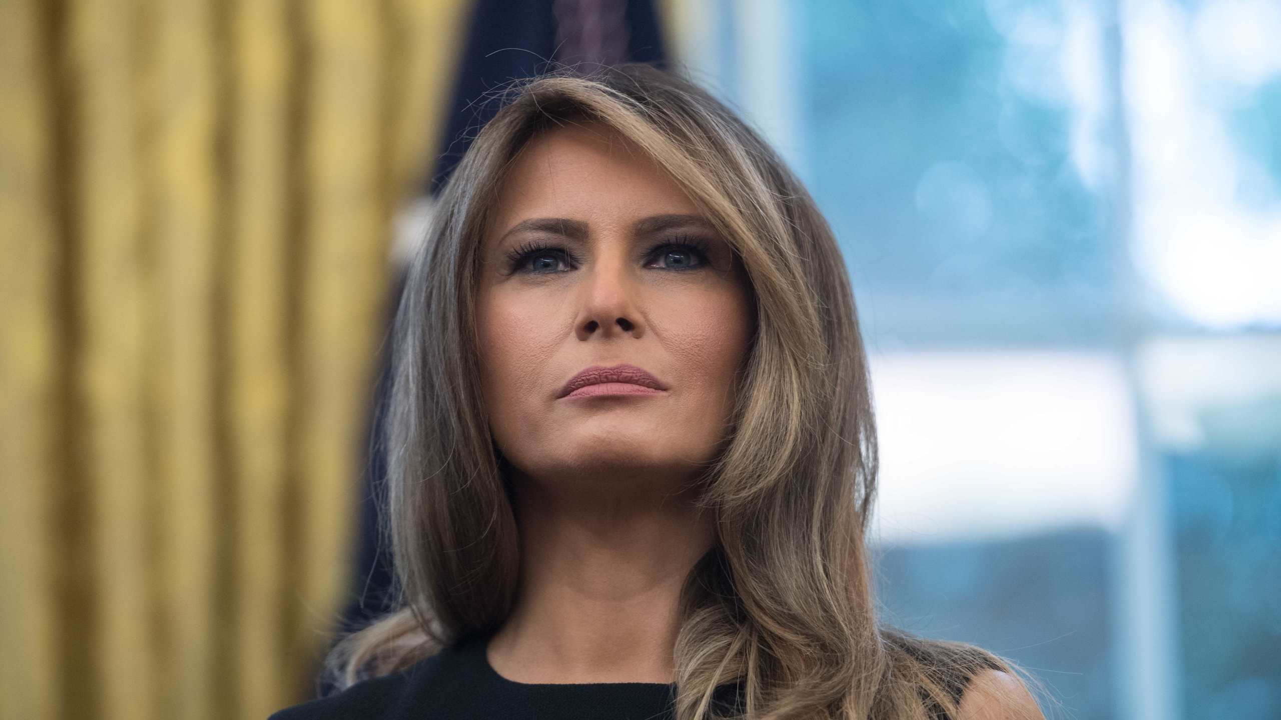 Melania Trump looks on as in the Oval Office at the White House on September 1, 2017. (NICHOLAS KAMM/AFP/Getty Images)