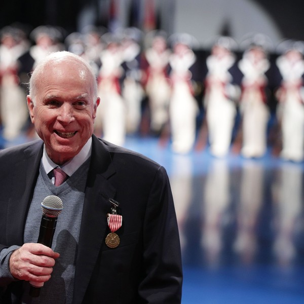 Sen. John McCain is shown after he was presented with the Outstanding Civilian Service Medal on November 14, 2017, in Fort Myer in Arlington, Virginia. (Credit: Alex Wong/Getty Images)