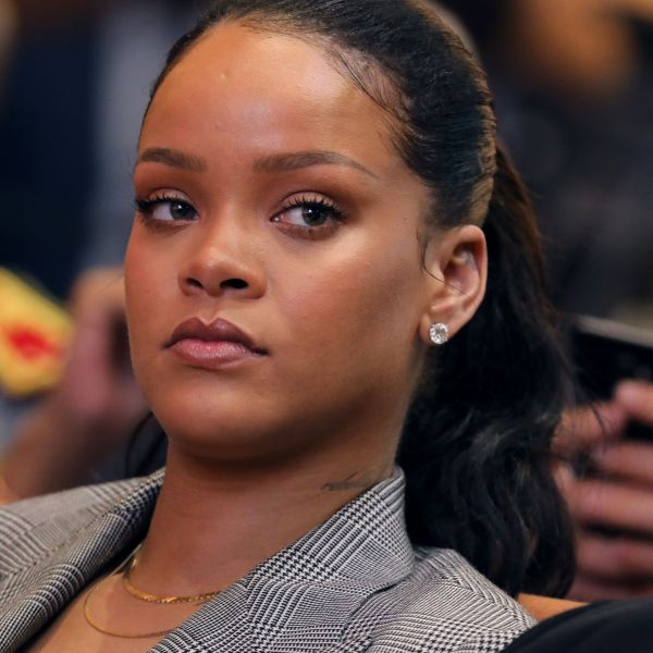 Rihanna attends a conference organized by the Global Partnership for Education in Dakar on Feb. 2, 2018. (Credit: Ludovic Marin / AFP / Getty Images)