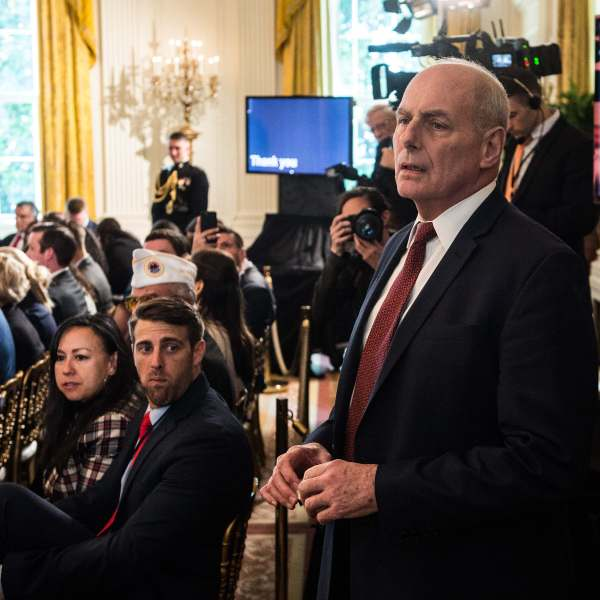White House chief of staff John Kelly looks on before the start of a Wounded Warrior Project Soldier Ride at the White House on April 26, 2018. (Credit: Nicholas Kamm/AFP/Getty Images)