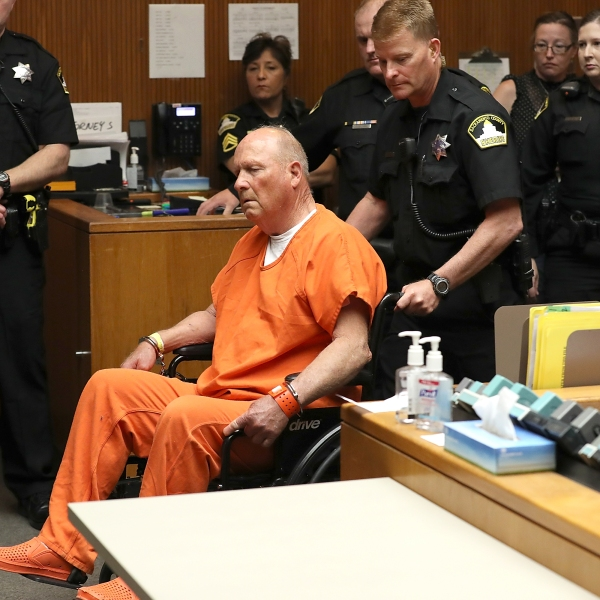"Joseph James DeAngelo, the suspected ""Golden State Killer"", appears in court for his arraignment on April 27, 2018 in Sacramento. (Credit: Justin Sullivan/Getty Images)"