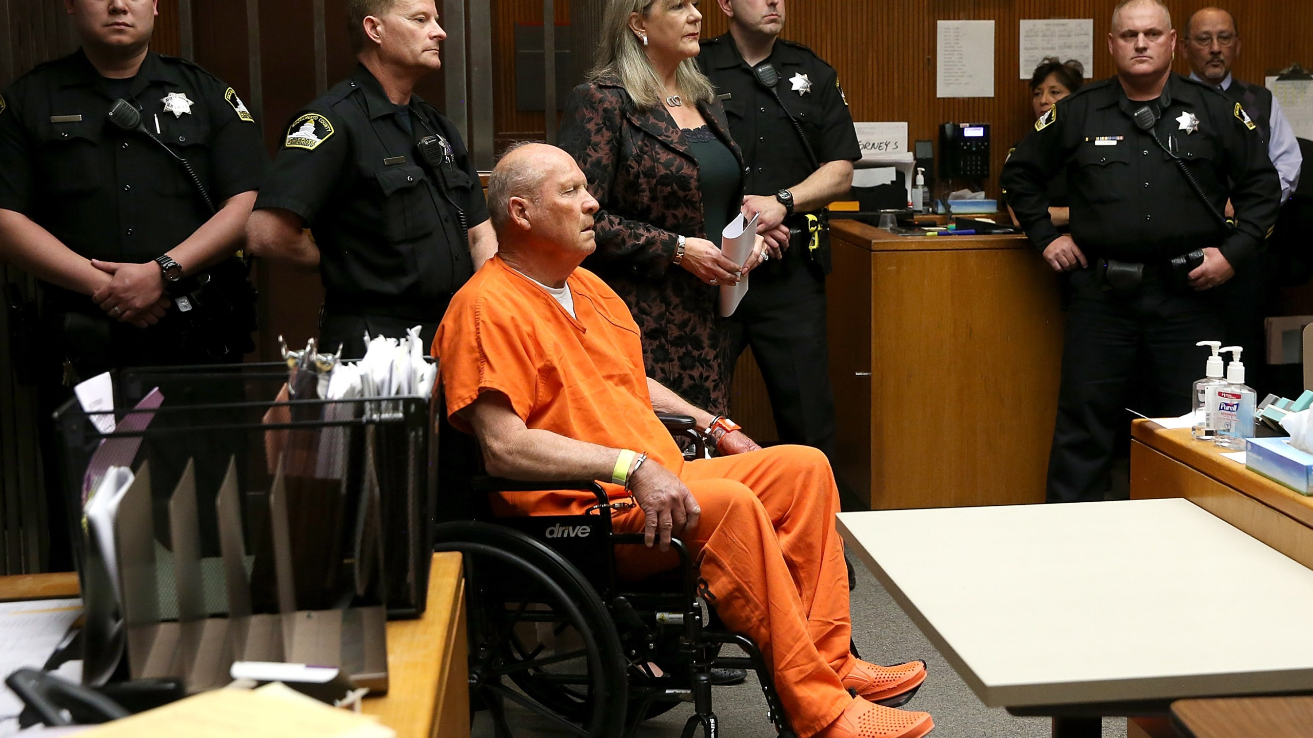 """Joseph James DeAngelo, the suspected """"Golden State Killer,"""" appears in court for his arraignment on April 27, 2018, in Sacramento. (Credit: Justin Sullivan/Getty Images)"""