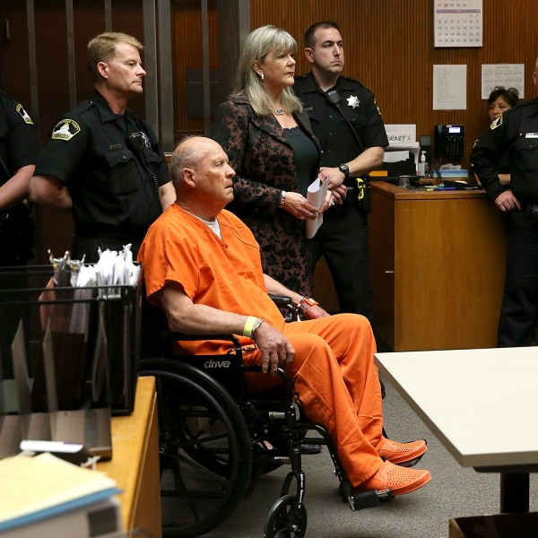 "Joseph James DeAngelo, the suspected ""Golden State Killer,"" appears in court for his arraignment on April 27, 2018, in Sacramento. (Credit: Justin Sullivan/Getty Images)"
