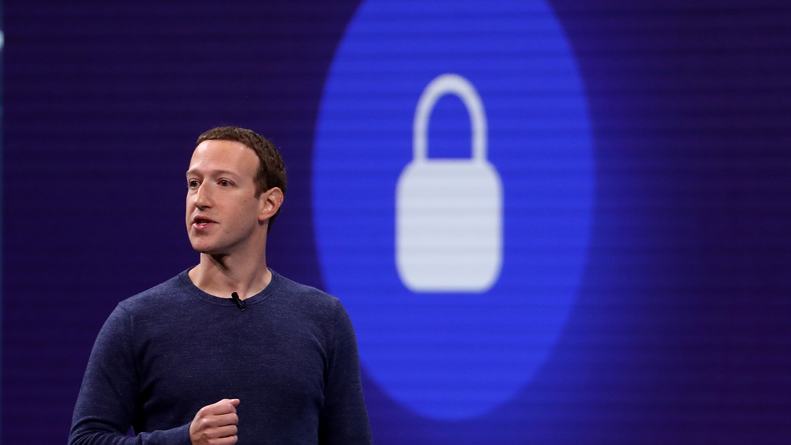 Facebook CEO Mark Zuckerberg speaks during the F8 Facebook Developers conference on May 1, 2018, in San Jose. (Credit: Justin Sullivan/Getty Images)