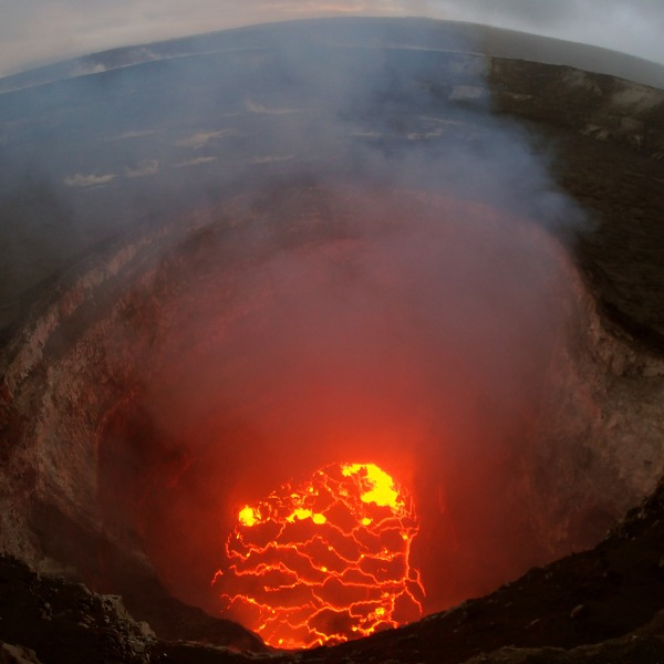 In this handout photo provided by the U.S. Geological Survey, the summit lava lake seen on May 6, 2018, is reported to have dropped in levels after the eruption of Hawaii's Kilauea volcano, near Pahoa. (Credit: U.S. Geological Survey via Getty Images)