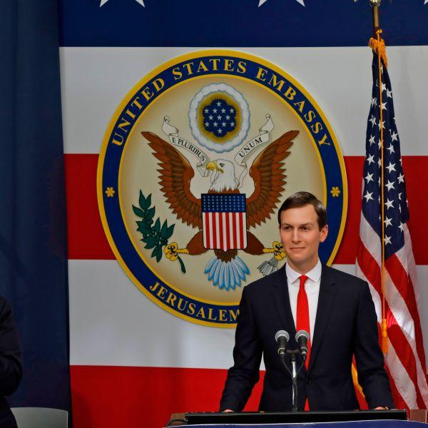 US ambassador to Israel David Friedman claps as Senior White House Advisor Jared Kushner delivers a speech during the opening of the US embassy in Jerusalem on May 14, 2018. (Credit: MENAHEM KAHANA/AFP/Getty Images)